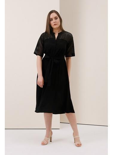 Gusto File Detaylı Elbise - Siyah File Detaylı Elbise - Siyah Siyah